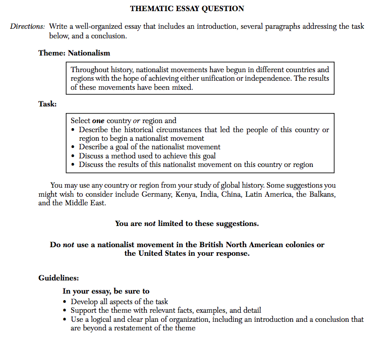 global regents thematic essay questions